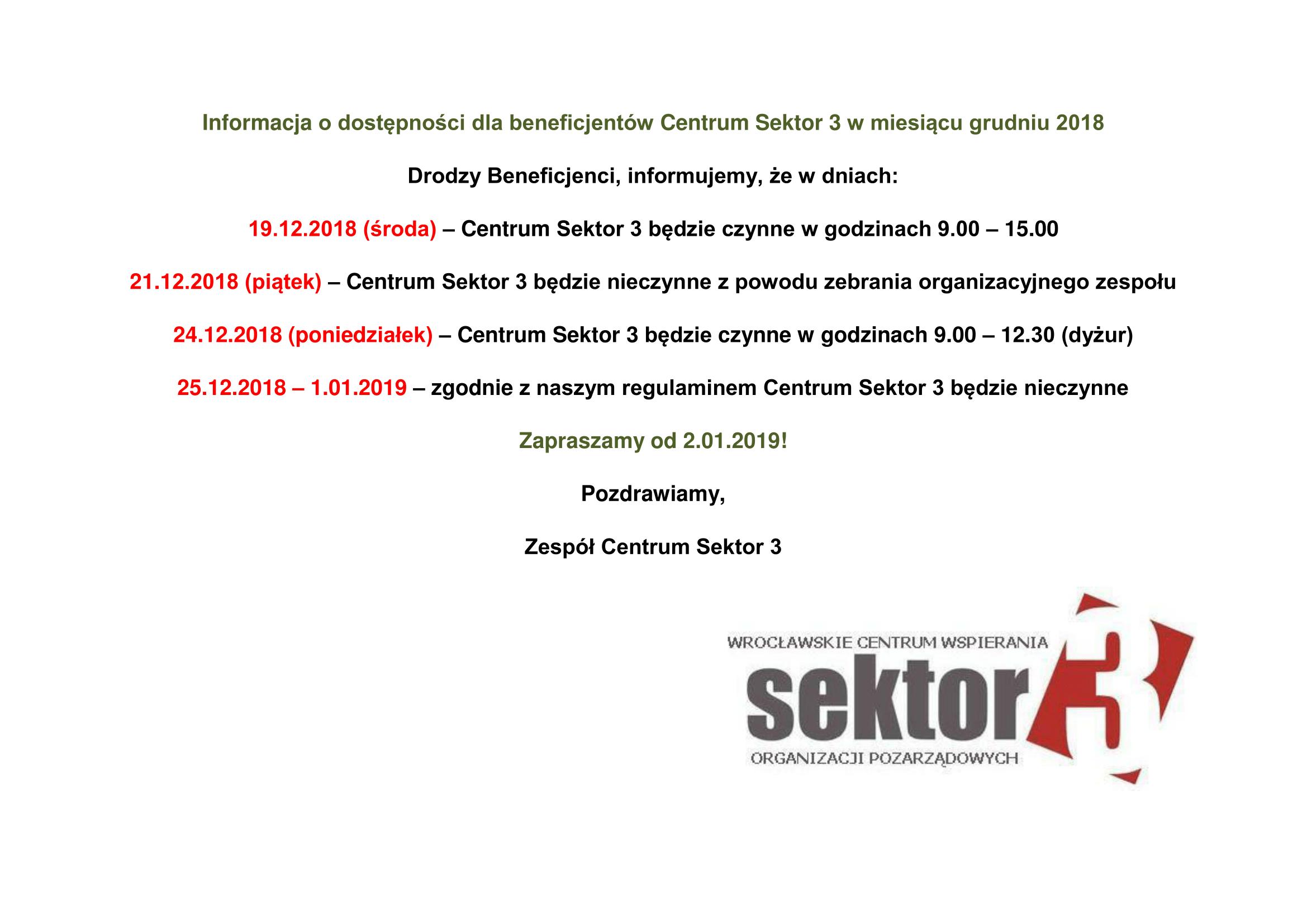 Informacje o dostępności dla beneficjentów Centrum Sektor 3 w miesiącu grudniu 2011-1