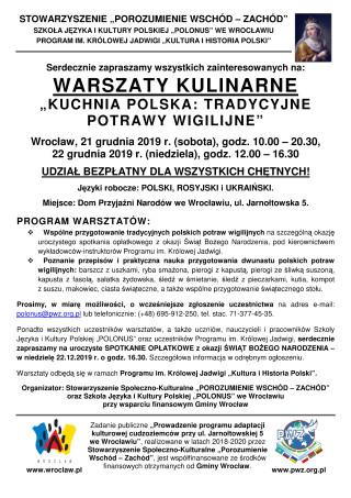 Zaproszenie - Warsztaty kulinarne - PL
